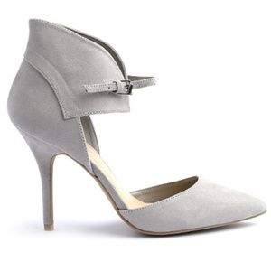 Wild Diva Shoes - Lovey Grey Pointed Toe Ankle Strap Cuff Heels